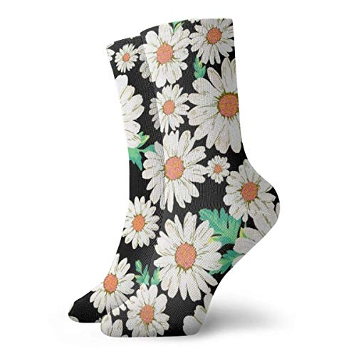 Adamitt Calcetines deportivos unisex con estampado de flores de margaritas Calcetines deportivos casuales