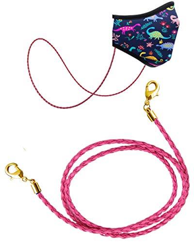 Face Mask Chain | Mask Strap | Mask Holder | Mask Lanyard | Mask Retainer | Necklace for Mask | Leather Mask Carrier | Rose Gold Chain | Women Men Children (Kids Pink Leather)
