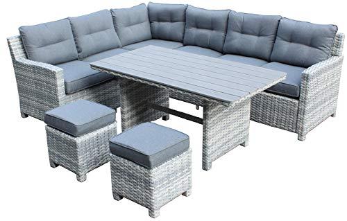 Atlantis | Polyrattan Gartenmöbel-Set | Dining-Lounge | Geflecht | 8 Personen | Sitzgruppe mit Esstisch | Inkl. Polster-Kissen | Gartentisch mit Stühlen