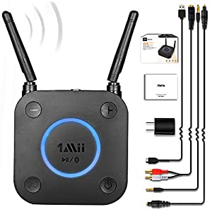 Long Range Bluetooth Receiver, HiFi Wireless Audio Adapter, Bluetooth 5.0 Receiver with 3D Surround aptX Low Latency Optical RCA AUX 3.5mm Coaxial for Home Stereo System