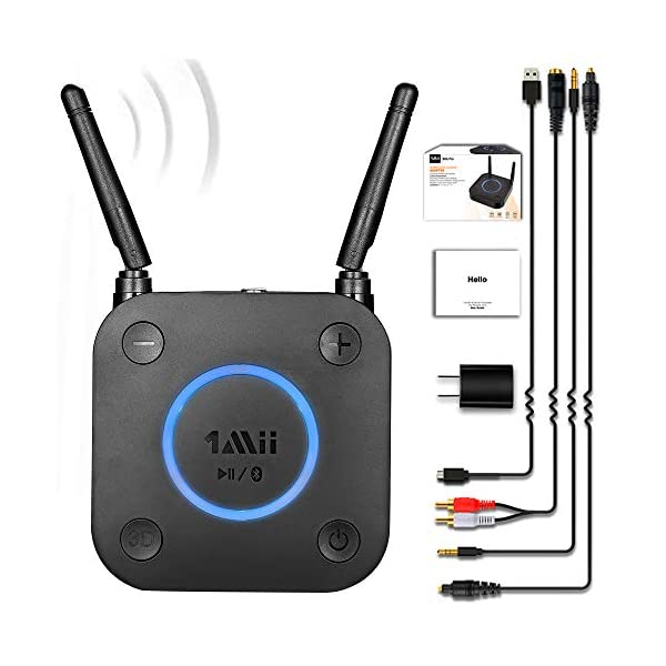 Long Range Bluetooth Receiver, HiFi Wireless Audio Adapter, Bluetooth 5.0 Receiver with 3D Surround aptX Low Latency Optical RCA AUX 3.5mm Coaxial for Home Stereo System 3