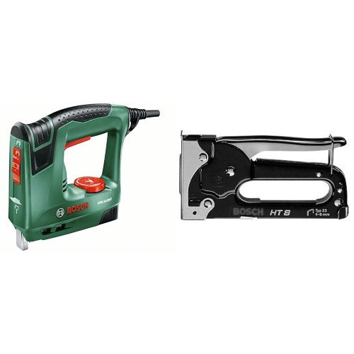 Bosch PTK 14 - Grapadora eléctrica válida para grapas y clavos (240 W, 240 V) color verde + Grapadora manual HT 8
