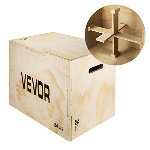 "VEVOR 30x20x24"" Wood Plyo Box 441LB Capacity Exercise Box Plyometric Jump Box with Internal Cross Bracing Plyo Box for Crossfit Training Plyometric Boxes for MMA or Plyometric Agility"
