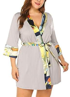 Women's Plus Size Cotton Bathrobes Soft Kimono Robe Knee Length Spa Robe L-4XL