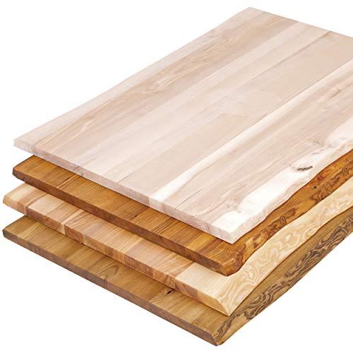 LAMO Manufaktur Tischplatte Baumkante für Schreibtisch, Esstisch, 120x80 cm, Esche Natur, LHB-01-A-002-120