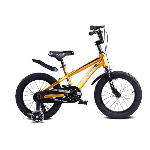LIZHIQIANG Bici per bambini e bambini, con cavalletto per bambini e ragazze, 12 14 16 18 pollici e bici per bambini (colore: giallo, dimensioni: 14 pollici)