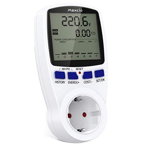 Medidor de Consumo Eléctrico con Dual Tarifa, Maxcio Enchufe Medidor de Costo de Electricidad con Pantalla LCD, Protección contra Sobrecarga, Reteción de Datos Medidor de Energía para Toma, 3680W