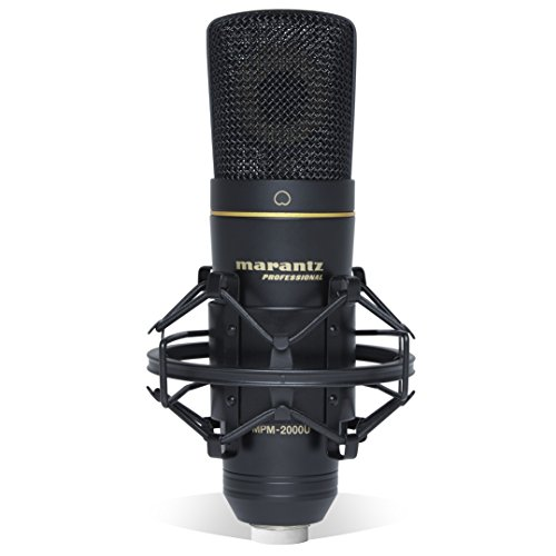 Marantz Professional MPM-2000U - Microphone Studio à Condensateur Large Membrane, Micro USB pour Le Podcast, L'Enregistrement, Le Streaming, Le Chant et Le Gaming, Câble et Étui de Transport Inclus