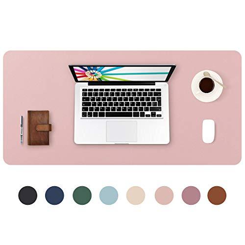 DOBAOJIA Tappetino per Mouse Grande Mouse Pad Mat XL Sottomano da Ufficio Tappetino da Tavolo Pad per Scrivania Laptop, Pelle PU Impermeabile + Scamosciata Antiscivolo 80 x 40 cm (Rosa)