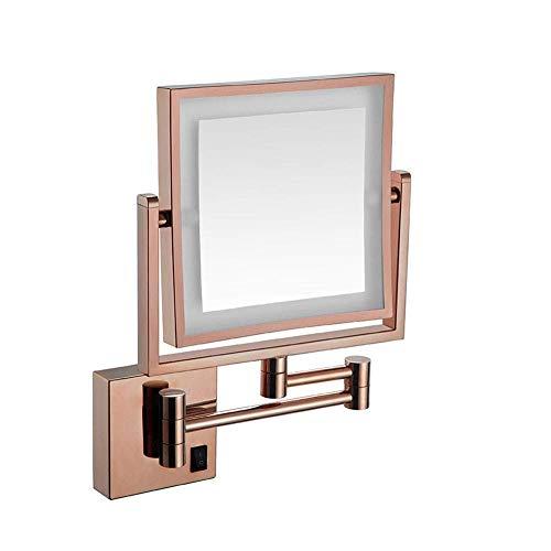Espejo de Aumento Aumento de 5X Soporte de Pared Pantalla táctil iluminada con LED Espejo de Afeitar Espejo de baño Redondo de Doble Cara Espejo cosmético abatible extraíble Espejo de instalación ocu