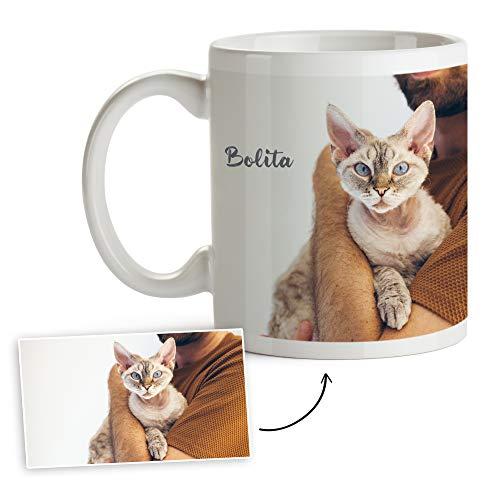Fotoprix Tazas Personalizadas con Foto y Texto | Regalos Personalizados con Foto de Gatos | Taza Personalizada el Nombre de la Mascota | Taza de Color Blanco