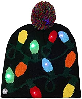 SODIAL Adult Kids Christmas LED Light Knitted Hat Knit Cap Party Colorful Light Adult Kids Warm Hat Lantern