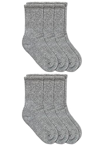 Jefferies Socks Little Boy's Seamless Half Cushion Sport Crew Socks 6 Pair Pack, Grey Heather, Medium