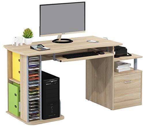 SixBros. Büroschreibtisch, Schreibtisch mit viel Platz für Ordner, Arbeitstisch, Computerschreibtisch, Eiche Holzoptik, 152 x 60 cm S-202A/1845