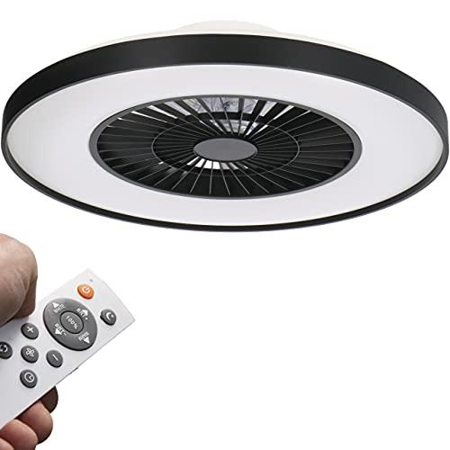 Proventa LED Ventilador de techo con luz 60W. Diámetro 60 cm. Regulable control remoto. Velocidad ajustable. Corriente ascendente/descendente para verano o invierno. Color negro
