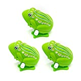 AUEAR, 3 Pieces Cute Green 2 Inch Jumping Frog Frogs Wind up Clockwork Educational Wind up Gift