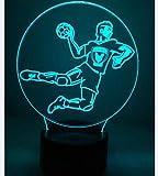 Illusion Optique 3D Handball Nuit Lampe Art Déco Lampe Lumières LED Décoration Lampes Touch Control 7 Couleurs Change Veilleuse USB Powered Enfants Cadeau Anniversaire Noël Cadeaux