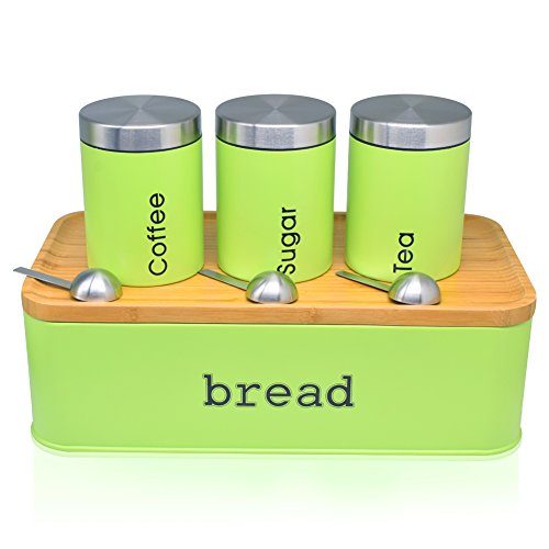 Fortune Candy Bread Box & Canister Set, Stainless Steel (Lime Green)