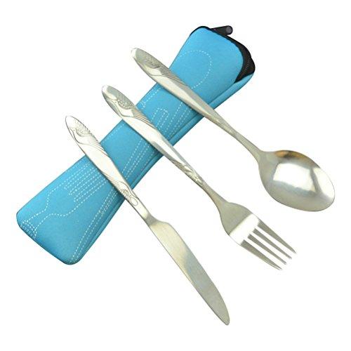 BESTONZON Set de vajilla de acero inoxidable de 3 piezas incluye cuchillo, tenedor, cuchara, bolsas - Set de cubiertos de viaje/cubiertos de viaje portátil de plata ligera (Azul cielo)