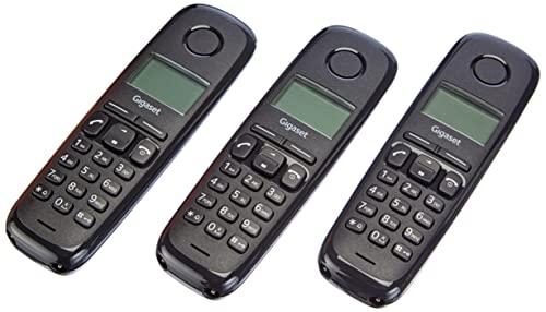 Oferta de Gigaset A170 Trio - Teléfono Inalámbrico, Pack de 3 Unidades, Pantalla Iluminada, Hasta 50 Contactos, Volumen Ajustable, Color Negro