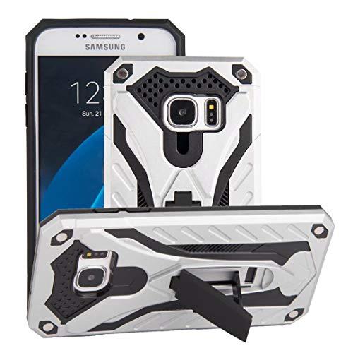 AFARER Samsung Galaxy S7 Hülle, militärische Qualität auf 3,6 m Fallhöhe getestete Schutzhülle, Extrem-Schutz Rüstung Duale Schichte Gehäuse mit Klappständer für Samsung Galaxy S7 - Silber