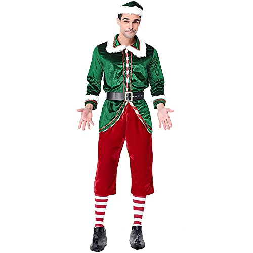 HBHBYNYN Hombres Navidad Santa Trajes for Hombre,Elf pelcula compinche el Duende Deluxe Adultos Disfraces de Sized (Color : Green, Size : L)