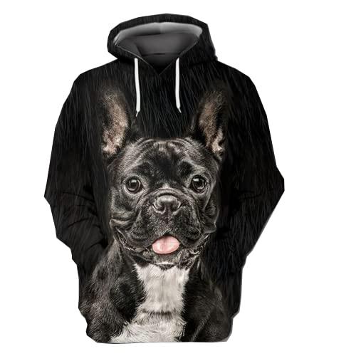 French Bulldog Men's Fleece Hooded Sweatshirt 3D Black Frenchie Printed Pullover Hoodie Men Women Series 08 Size 3XL
