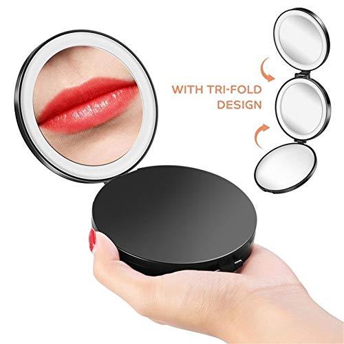 Daglicht Make-up Spiegel Tri-fold Cosmetische LED Spiegel Draagbare Ronde Make-up Spiegel 1x/5x/10x Vergrootglas Miroir Met LED Licht Voor Buiten Reizen verlicht