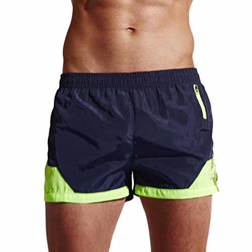 OVERDOSE Herren Shorts Badehose Quick Dry Beach Surfing Running Schwimmhose Sporthose Bademode(A-Navy,L)