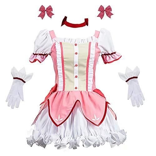 Anime Kaname Madoka Cosplay Kostüm Mädchen Prinzessin Kleid Cosplay, Anime Japanische Mädchen Frauen Kostüm Rock für Halloween Cosplay Kostüm, Halloween Kostüm Lolita Kleid für Frauen Full Set