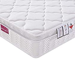 ★【A GOOD NIGHT'S SLEEP】With an innovative 9 Zone Support System constructed by individual spring coil pockets. each spring coil is made of tempered stainless steel wire into a bucket shape. Compressed and sealed in a fabric pocket to reduce noise of ...