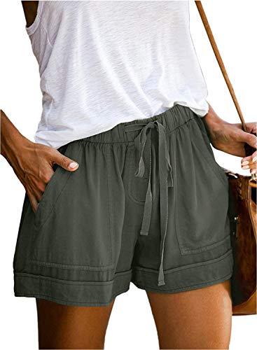 Acelitt Womens Ladies Casual Summer Drawstring Loose Elastic Waisted Solid Pocketed Midi Rise Shorts Pants Green M