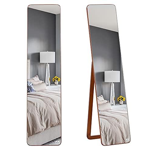 HOMCOM Espejo de Pie Cuerpo Entero Rectangular Espejo de Pared con 2 Formas de Uso Marco de Madera de Pino Moderno para Pasillo Dormitorio Sala de Estar 37x43x156 cm Nogal