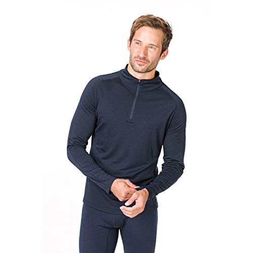 Super.natural Tee-shirt Manches Longues Chaud pour Hommes, Laine mérinos, M BASE 1/4 ZIP 230, Taille: XL, Couleur: Bleu foncé