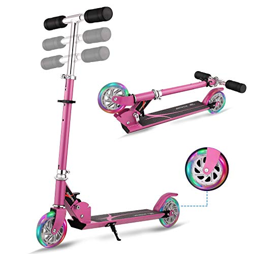 WeSkate Scooter for Kids Foldable 2 Wheel Light Up Kick Scooter for Girl Adjustable Height Gift for 3-14 Years Pink