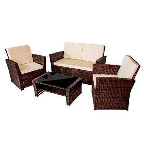 HANNOVER GARDEN Conjunto Muebles de Jardín 4 Piezas Paraguay Rattan - Conjunto de Jardín con Sofá Dos plazas, 2 Sillones y Mesa Baja - Color Marrón