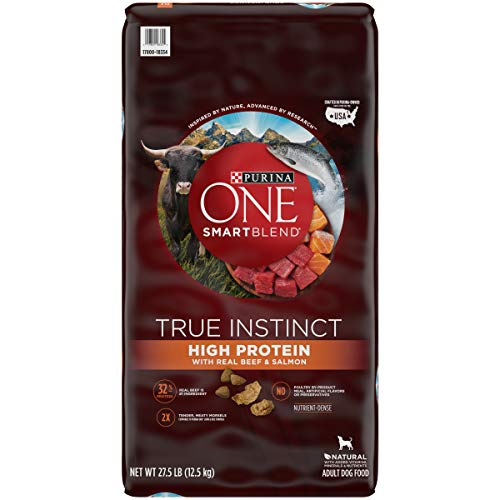 Purina ONE Natural, High Protein Dry Dog Food, SmartBlend True Instinct With Real Beef & Salmon - 27.5 lb. Bag
