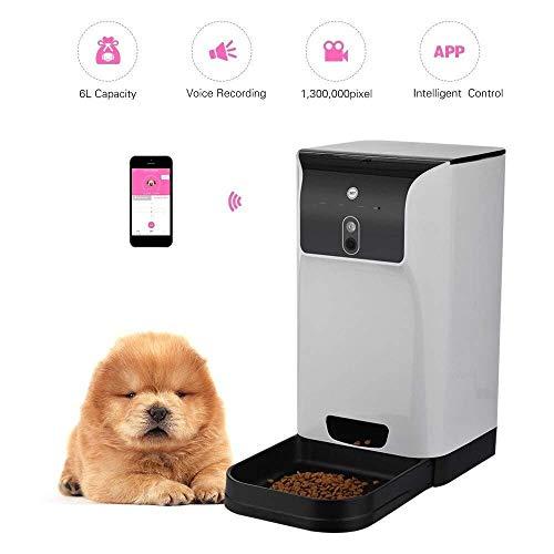 Hardworking bee APLICACIÓN Alimentador automático de Mascotas Gato/Perro Dispensador de Alimentos 6L de Almacenamiento con cámara Grabadora de Voz Conexión WiFi Compatible para iOS Android Salud