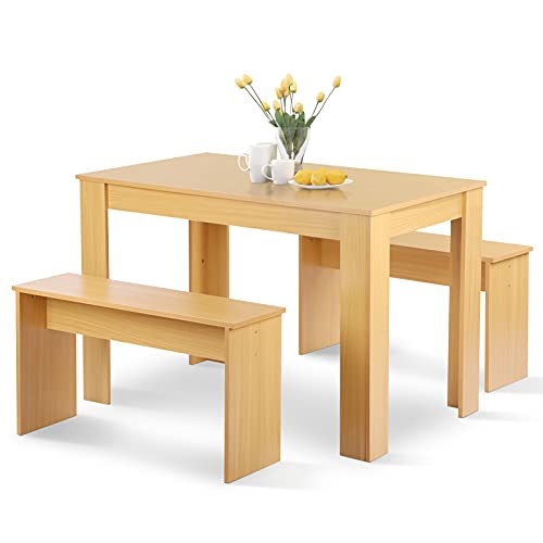 Ejoyous Modern Style Dining Table Set Wooden Bar Table and Chair, High Table with 2 Stools Dining Benches Two Person Bar Table and Chairs
