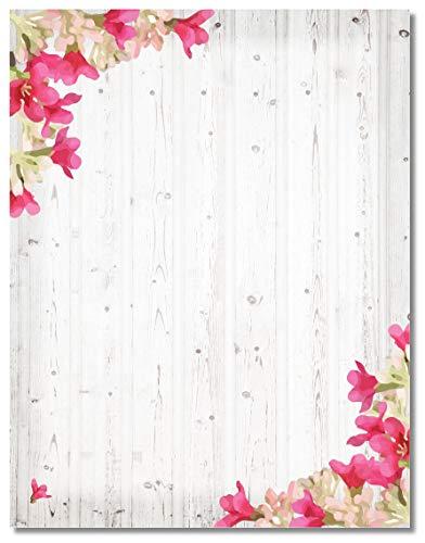 Gray Wood Rustic Stationery - 8.5 x 11-60 Letterhead Sheets - Rustic Letterhead (Barnwood & Flowers)