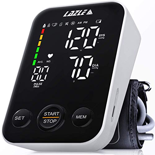 2021 Blood Pressure Monitor by LAZLE - Automatic Upper Arm Machine & Accurate Adjustable Digital BP Cuff Kit - Voice Broadcast & Largest Backlit Display - 240 Sets Memory, Carrying Case,Batteries