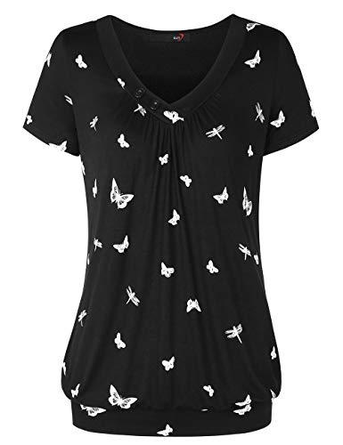 DJT Damen Basic V-Ausschnitt Kurzarm T-Shirt Falten Tops mit Knopf Schwarz Schmetterling XL