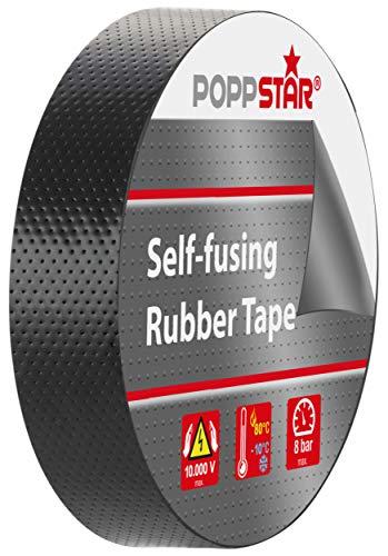 Poppstar 1x selbstverschweißendes Universal Isolierband und Dichtungsband, LxBxH 5m x 19mm x 0,76mm, schwarz