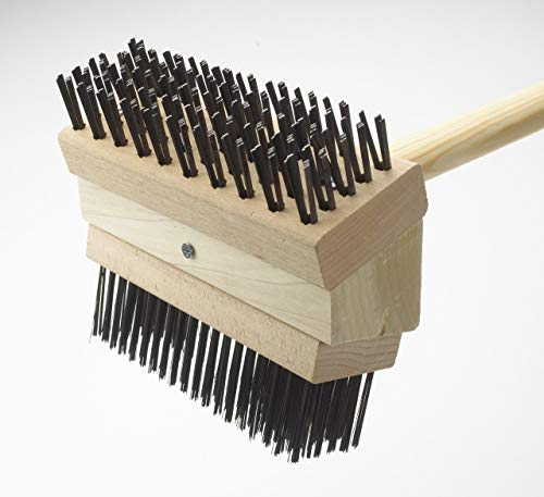 Texas Wooden Grill Brush- 48 Inch Wooden Handle Double Carbon Steel Bristles-Heavy Duty Barbeque Grill Cleaning Brush-Commercial Grade Safe BBQ Accessory for Gas/Charcoal Grate-Grilling Gift for Cooks
