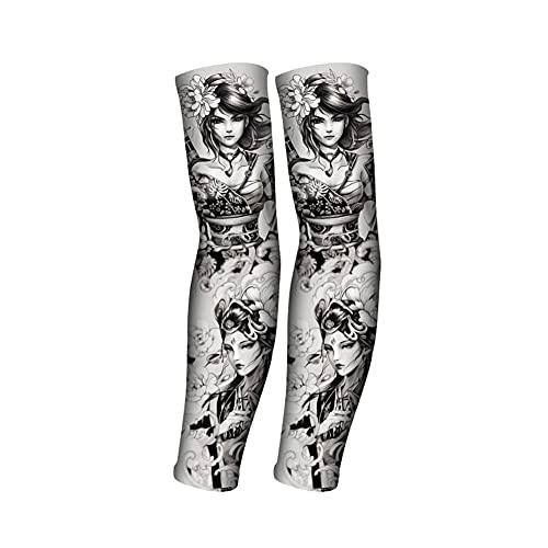 1 par de mangas de brazo de tatuaje falso Medias de brazo elásticas de nailon Hombres Mujeres Protector solar Mangas largas Ciclismo Baloncesto Cubierta de brazo Moda Arte corporal Favor de fiesta