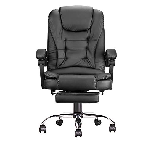 Leather Office Desk Chair with Footrest Ergonomic Reclining Conference Executive Manager Work Computer Chair for Home, Thick Swivel Task Gaming Chair, Adjustable Height and Headrest Support (Black)