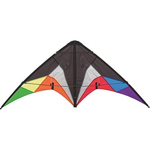 HQ 11234630 - Quickstep II Black Rainbow Lenkdrachen Zweileiner, ab 10 Jahren, 60x135cm, inkl. 20kp Polyesterschnüre 2x20m auf Winder mit Schlaufen, 2-5 Beaufort