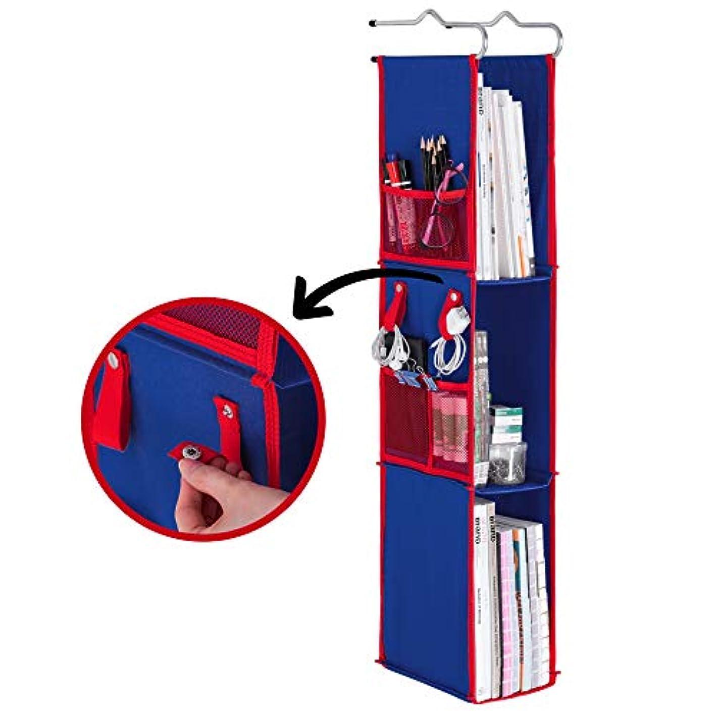 StorageWorks 3-Shelf Hanging Locker Organizer, Durable Polyester Canvas Locker Organizer Hanging Shelves, Blue/Red, 36