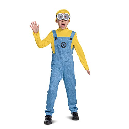 Bob Minions Costume for Kids, Official Minion Jumpsuit Outfit with Goggles and Hat, Classic Size Small (4-6)