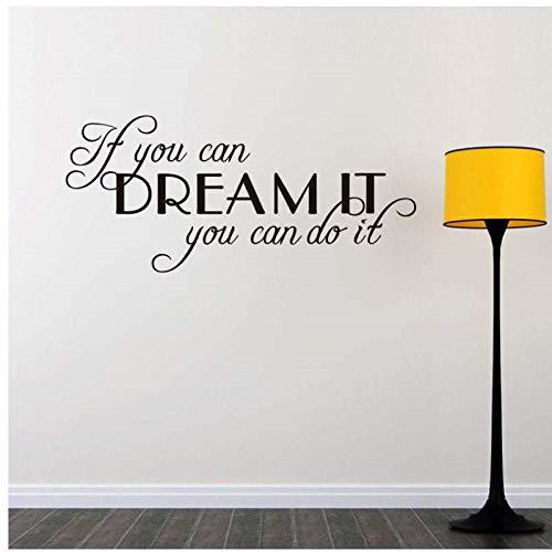 Als je dromen uitkomen, dan kun je er een dynamische afspraak van maken. Verwijderbare vinyl muursticker voor kinderhuisdecoratie 42x92cm